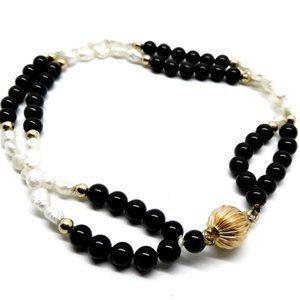 14k Gold Freshwater Pearls Onyx Vintage Bracelet